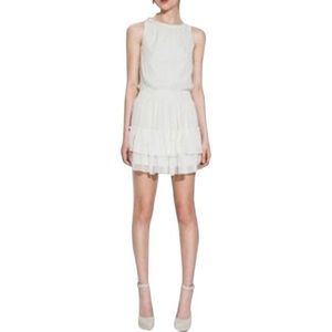 NWT Zara White Chiffon Ruffle Layered Casual Dress